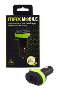 Auto adapter MAXMOBILE USB DUO 3.4A+Micro USB