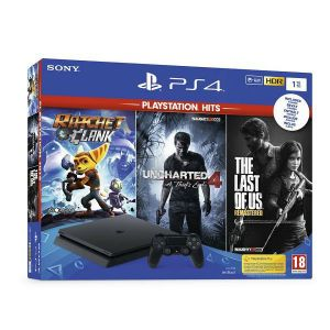 Playstation 4 1 TB F CHASSIS + RATCHET AND CLANK + UNCHARTED 4 + THE LAST OF US