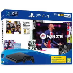 PlayStation 4 500GB F Chassis Black + FIFA 21 + FUT VCH + PS Plus 14dana