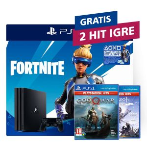 PlayStation 4 Pro 1TB G chassis + Fortnite VCH (2019) + 2 HIT naslova po izboru