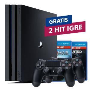 PlayStation 4 Pro 1TB G chassis Black + PS4 Dualshock Controller Black + 2 HIT naslova po izboru