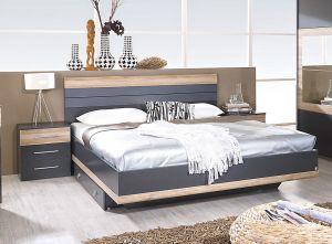 Set krevet TARRAGONA + 2x noćni ormarić 160x200 Tamno siva