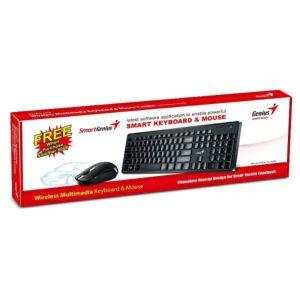 Tipkovnica i miš GENIUS SlimStar 8006, bežična, USB, Crna
